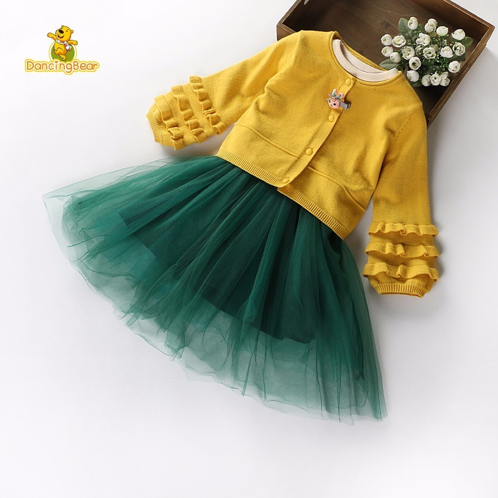 DancingBear Spring Girls Childrens Clothes Sets Knitting Sweater Cardigan Cotton Dresses Party Princess A-line Dress <br>