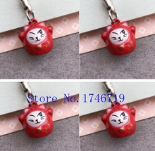 New 50 pcs Cute Japanese cat Claus key chains Cartoon Cell Phone Strap Bell Charm Gift(China)