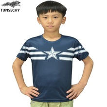 TUNSECHY Children Unique Marvel Captain America T Shirts Super Hero Design Kids short sleeves Captain America Boys T-shirts(China)
