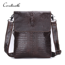 CONTACT'S Fashion Designer Genuine Leather Crossbody Bags For Men High Quality Handmade Crocodile Leather Small Shoulder Bag(China)