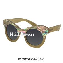 high quality Italian designer small butterfly shiny sea shell decoration horn sunglasses for fashion girls