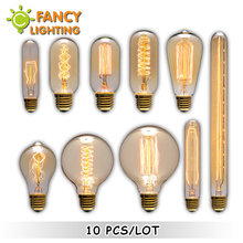 10 pcs/lot vintage edison filament light bulb e27 e14 retro lamp 220v 110v 40w 60w incandescent bulb for home decor restaurant(China)