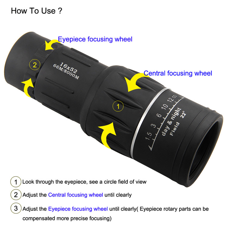 16X52 HD Portable Dual Focus Zoom Monocular High Power Optical Lenses Telescope Spotting Scope for Outdoor Camping Travelling 11