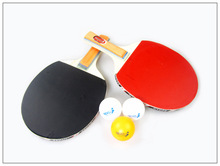 Free shipping Long Handle Shake-hand Table Tennis Set 2 Rackets + 3 Table Tennis Balls Ping Pong Paddle Table Tennis Racket GYH