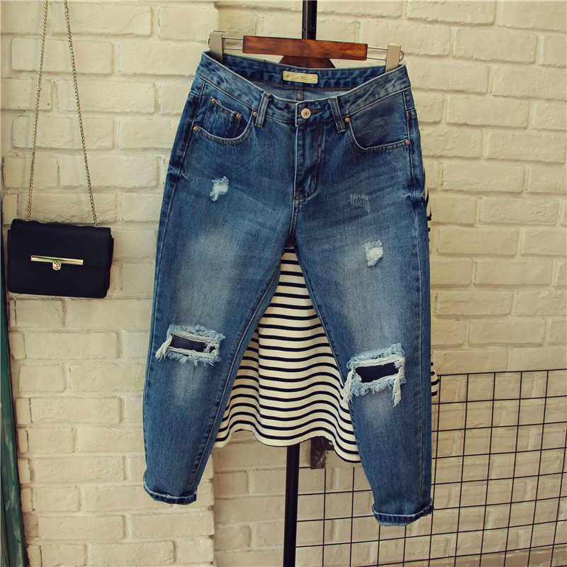 2017 Spring Street Style Ripped Hole Women Jeans Ankle-Length Loose Cross-pants Blue Quality Guarantee MP009Одежда и ак�е��уары<br><br><br>Aliexpress