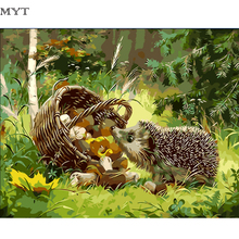 Frameless wall decor diy painting by numbers hand painted canvas painting for living room Hedgehog looking for food pictures