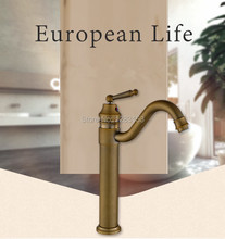 high quality antique brass tap bathroom faucets European style single handle Mixer Tap discount kitchen faucets