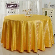"Factory Wholesale 10PCS Luxury Wedding Table Cover Linen for Banquet Party Hotel Restaurant Decor Gold 90"" Round Table Cloth(China)"