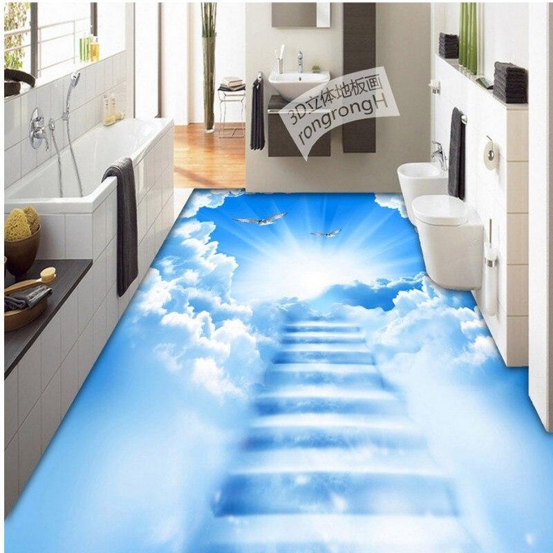 Free shipping custom Cloud ladder 3D creative floor painting lobby flooring moisture proof non-slip living room wallpaper mural<br>