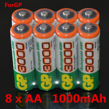 8 PCS/lot Wholesale For GP AA 1.2 V 1000mAh Ni - MH Rechargeable batteries' toys