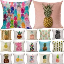 1Pcs Pineapple Pattern Cotton Linen Throw Pillow Cushion Cover Seat Car Home Decoration Sofa Decor Decorative Pillowcase 40171(China)