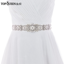 TOPQUEEN S161B Crystal Rhinestones Evening Party Prom Dresses Accessories Wedding Belt Sash,Bride Waistband Bridal Sashes Belts(China)