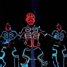 Wholesale Led Growing Flashing EL Wire Dance Costume Robot Suit Party With Mask For Stage Show,Club Bar,DJ Accept Custom Design(China)