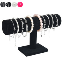 New Portable Velvet/PU Leather Bracelet Bangle Necklace Display Stand Holder Watch Jewelry Organizer T-Bar Rack SL(China)