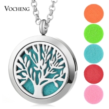 30mm Aroma Diffuser Locket Necklace Tree of Life Pendant 316L Stainless Steel Magnetic Random Send 5pcs Oil Pads as Gift VA-256