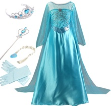 2017 Girls Dresses Appliques Girls Cosplay Elsa Dress For Kids Halloween Costume Clothes Princess Dresses For Girls(China)