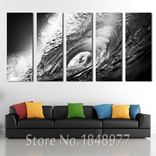 5 Panels Large Modern Sea Wall Art Black and White Waves Ocean Oil Painting On Canvas Poster Print For Living Room