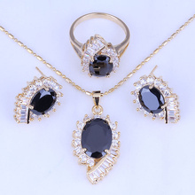 Love Monologue Yellow Gold Color Black Imitation Onyx Cubic Zirconia Jewelry Sets Necklace/Pendant/Earrings/Rings H0264