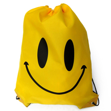 Cute Waterproof Drawstring Sport Backpack Sack Bag for Kid Teenager (Smiley Face Yellow)(China)