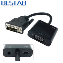 DVI Input to VGA Output Video adapter with 3.5mm Audio& USB Power Port For Projector Monitor dvi vga adapter connector converter