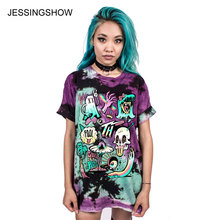 JESSINGSHOW 3D Cartoon Devil Skull TShirt Women Pretty Brand Clothes Casual Tops Tees Blusa Plus Size Female O Neck T-shirt Girl(China)