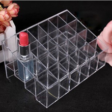 2016 Drop Shipping Practical Tools 24 Trapezoid Clear Makeup Cosmetic Organizer Lipstick Holder Case Stand