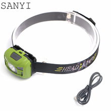 SANYI Multi-function Mini Motion Sensor Headlight Induction USB charging Lantern Headlamp Flashlight Head Torch lamp+USB cable