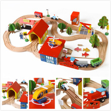 69pcs/set Thomas Wooden Train Kids Toys Wooden Puzzle Building Slot Track Rail Transit Parking Garage