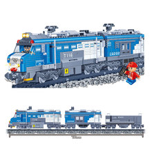 Banbao 8228 Model building kits compatible with lego City RC Freight Train rails 3D block building toys hobbies for children