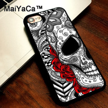 MaiYaCa Sugar skull tattoo rose flower cover soft TPU Rubber Skin Mobile Phone case For iPhone 5s SE 5 funda Coque Back Shell(China)