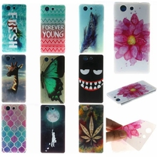 Phone Back Case For Sony Xperia M C1905 M2 M4 Z3 mini Z5mini C3 T3 Soft TPU Silicon Printed Animals Flower Beauty Back Case