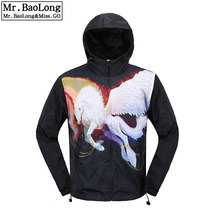 2016 Spring and Summer The White Horse Print Coat Male Slim Popular Men's Clothing Casual Outerwear Thin Top Men Trench Coat(China)