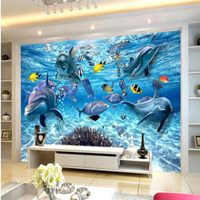 beibehang Custom photo wallpaper 3D stereo underwater world of marine fish living children's room TV background mural wall paper(China)