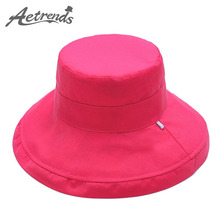 [AETRENDS] 2017 Newly Women's Floral Cotton Blend Double Layers Sun Hats Summer Beach Hat Panama Cap Z-2704