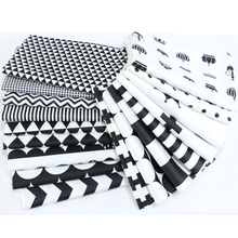 160x50cm Cotton Patchwork Fabric for DIY Sewing Craft Quilting Tissue Kids Bedding Textiles Tilda Doll Cloth Black White Style