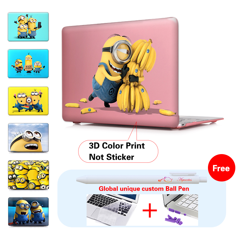 Print Minion Love Banana Pink Crystal Case Cover For Mac Book Pro 13 15 Retina New Macbook Air 11.6 12 13 Inch Hard Shell<br><br>Aliexpress