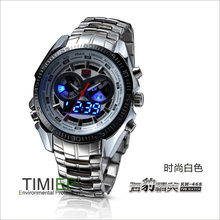 TVG Trendy Men's Sport Clock Fashion Blue Binary LED Pointer Watch Mens Diving Watches Waterproof