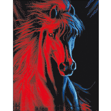 Top Design Diamond Painting Cross Stitch Horse Painting Diamond Mosaic Round Rhinestone Diamond Painting Horse Beadwork 48X60cm(China)