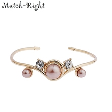 Match-Right Women Jewelry of Open Bracelets & Bangles with Wide Metal Cuff Imitation Pearl Bangle Bracelet for Women LG-064