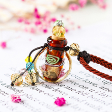 H&D Handmade Aromatherapy Essential Oil Perfume Lampwork Crystal Glass Bottle Pendant Necklace NEW Best Gift (Champagne)(China)