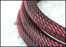 10M 16MM  Nylon Mesh  Red+Black (SSS) Screen  Braided Sleeving  For DIY HIFI audio video cable  wire