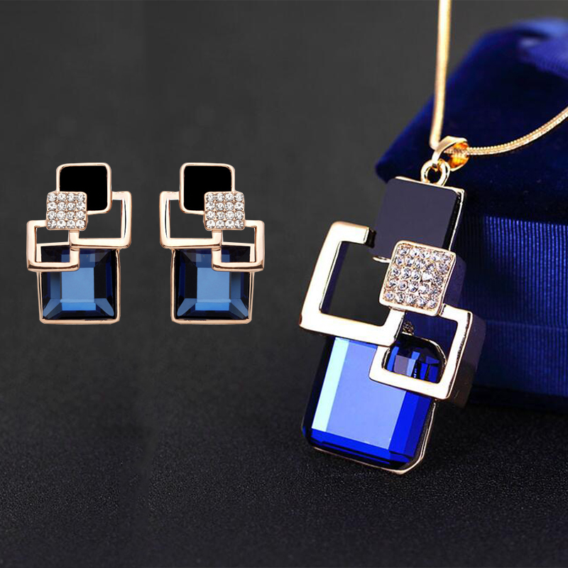 Jewelry-Sets Pendant Necklace Stud-Earrings Crystal Square Gifts Geometric Party Vintage title=