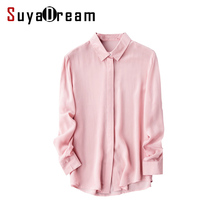 100% REAL SILK Simple blouse Women long sleeve CHIFFON SILK Blusas femininas OFFICE Lady loose SHIRT 2017 NEW WHITE PINK Sliver