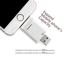 i-EasyDrive OTG USB Flash Drive Made For iPhone 5 5C 5S 6 6Plus 6S Plus 7/iPad ios/ Mac/PC 32GB 64GB White with High Speed(China)