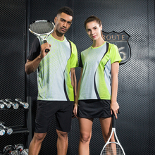 New Quick dry sports Tennis wear set Man / Woman , Tennis clothes sportswear Badminton sets , sports shirt + skirt 1021(China)
