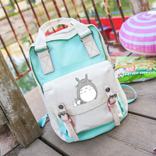 Free shipping Popular Top Tonari no Totoro Cartoo Canvas Shoulders backpack Korean version Harajuku panelled leisure schoolbag