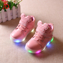 JIANDIAN New children's shoes LED, children's luminous shoes, girls' Sports lights, baby shoes, high hand flashing shoes
