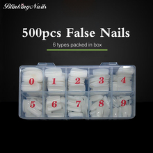 BlinkingNails Acrylic Nail Tips Half Cover 500 pcs 10 sizes Clear French Tip Full Nails White Manicure Products(China)