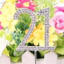 Classic Crystal Rhinestone Cake Topper Number Age 60th 50 21 Birthday Anniversary Cross Decoration