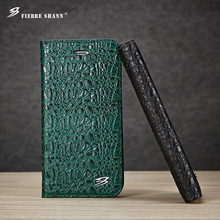 for iPhone X 8 8 Plus 7 6 6s Plus Leather Top Quality Crocodile Flip Case for Galaxy S8 Plus S8 Clamshell With Card Slots Cover